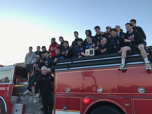 Fire truck escort back to school for our Section 1 Hockey Champs!!
