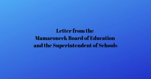 Letter from Superintendent and Board of Education
